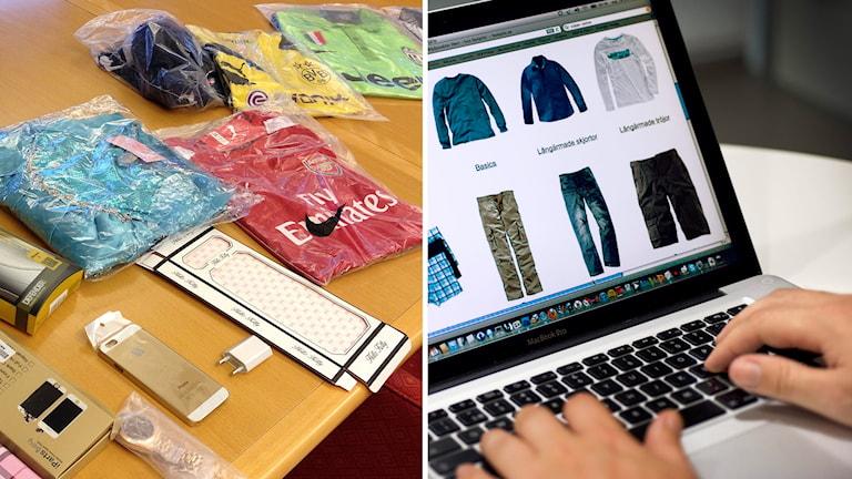 Person handlar kläder på nätet och ett axplock av det som tullen beslagtog vid ett tillslag i Sverige under oktober. Foto: TT och Sveriges Radio