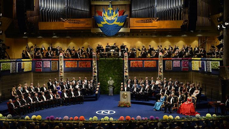 Nobelpristagarna i Konserthuset. Foto: Jonas Ekströmer/TT