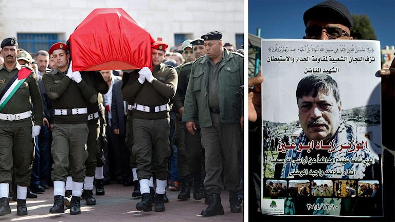 Den palestinska politikern Ziad Abu Ain begravs i Ramallah. Foto: TT