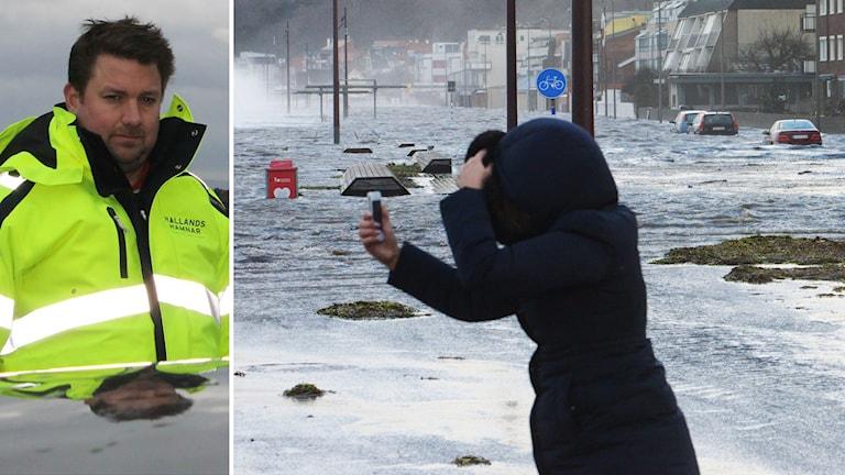 Carl-Henrik Hägg, produktionschef i Hallands Hamnar. Till höger en bild från stormen Sven för ett år sedan i Helsningborg. Foto: Henrik Martinell/Sveriges Radio och Johan Nilsson/TT
