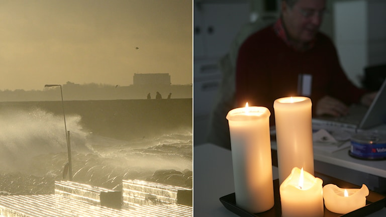 Stormen Sven som drog in över södra Sverige förra året i december. Till höger stearinljus vid ett elavbrott. Foto: TT