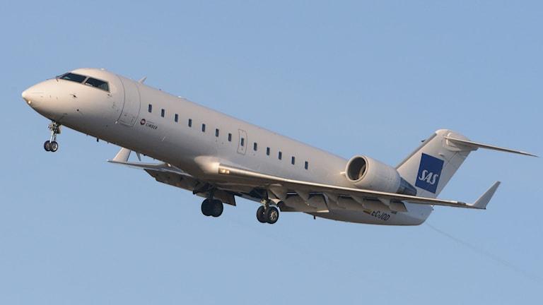 En CRJ-200 från flygbolaget Cimber som flyger för SAS. Foto: Johan Nilsson/TT