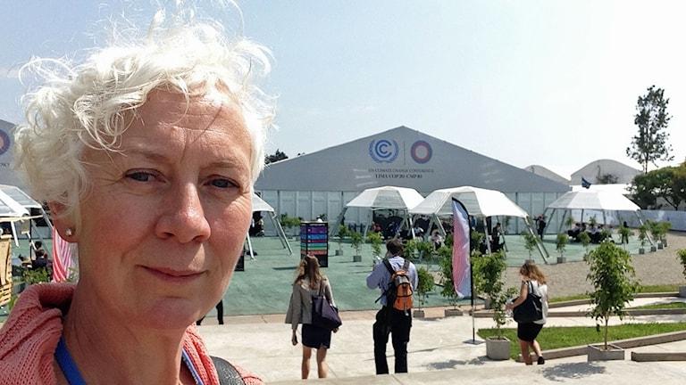 Ekots utsände Annika Digréus bevakar klimattoppmötet i Lima. Foto: Annika Digréus/Sveriges Radio