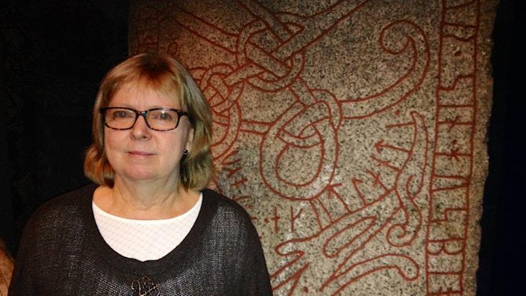 Lena Hejll är projektledare för succéutställningarna om vikingar som just nu är på världsturné. Foto: Lotta Myhrén / Sveriges Radio.