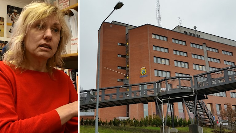 Ingrid Helmius, polisforskare och polishuset i Flemmingsberg. Foto: Sveriges Radio
