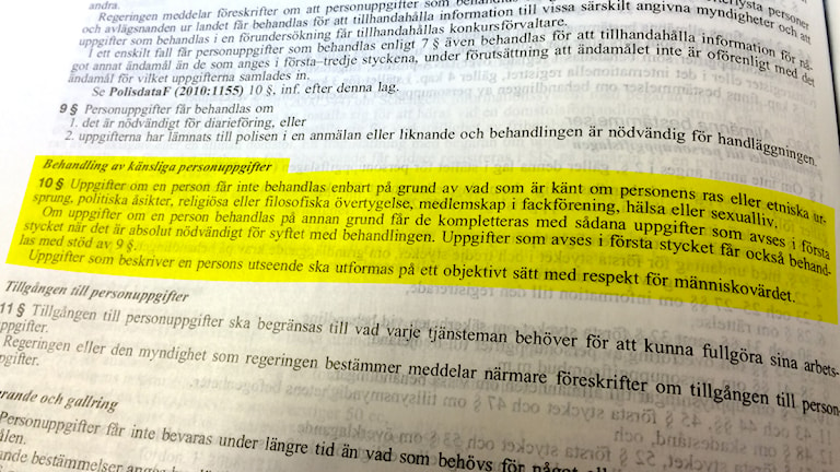 Så säger lagen om behandling av känsliga personuppgifter. Foto: Sveriges Radio