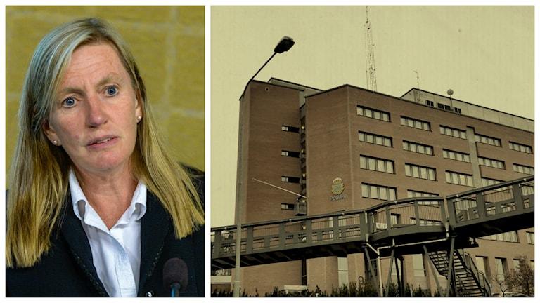 Carin Götblad och Polishuset Södertörn. Foto: Bertil Ericson/ TT och Bo-Göran Bodin/Sveriges Radio.