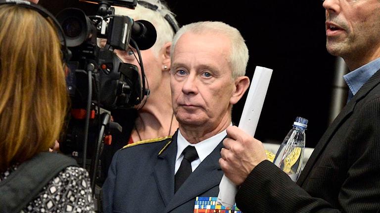 The Supreme Commander of the Armed Forces,  Sverker Göranson, at a press conference. . Foto: Claudio Bresciani/TT.