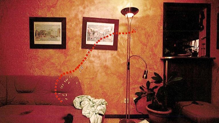 Bild på mordplatsen ur polisens förundersökningsprotokoll
