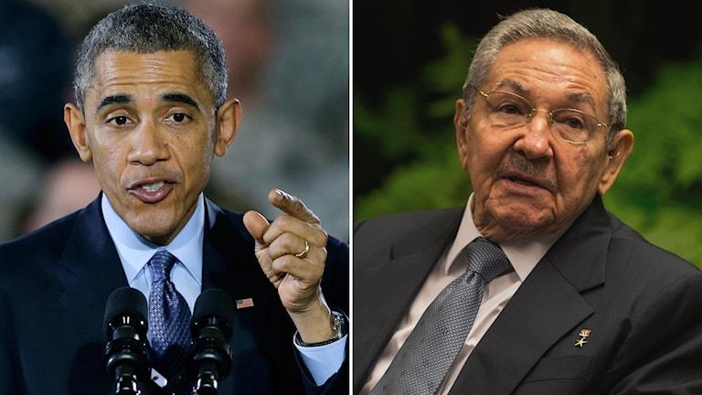 USA:s president Barack Obama och Kubas president Raul Castro. Foto: TT