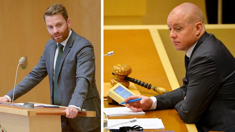 Hans Linde (V) och andre vice talman Björn Söder (SD). Foto: TT