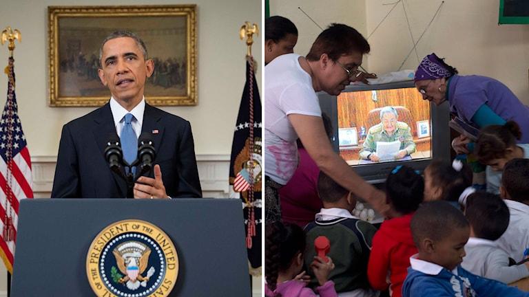 USA:s president Barack Obama håller presskonferens på onsdagen. Till höger lärare och barn i Havanna som lyssnar på Raul Castros tal. Foto: AP