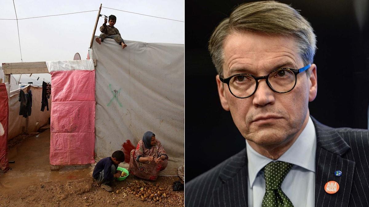 Syriska flyktingar i Libanon. KD-ledaren Göran Hägglund. Foto: TT/Montage. Sveriges Radio.