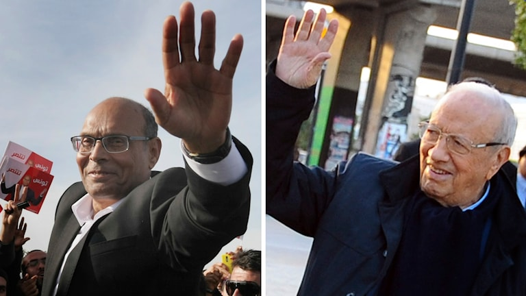 Marzouki (till vänster) utmanas i Tunisiens presidentval av Essebsi. Foto: TT