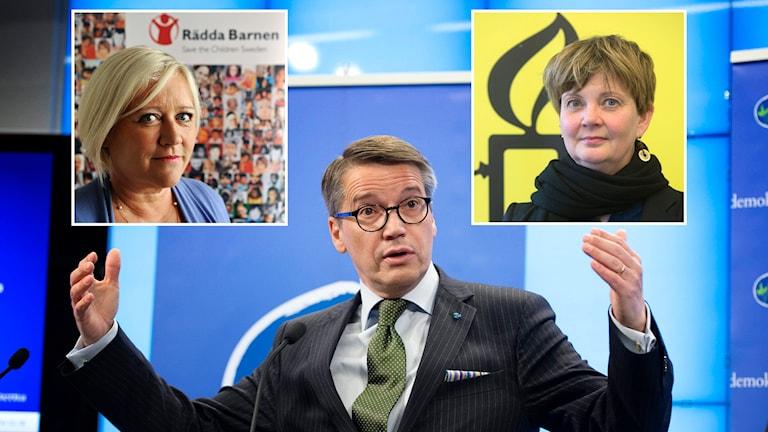 Elisabeth Dahlin, från Rädda barnen, och Madelaine Seidlitz, från Amnesty, är båda kritiska till Göran Hägglunds utspel. Foto: TT