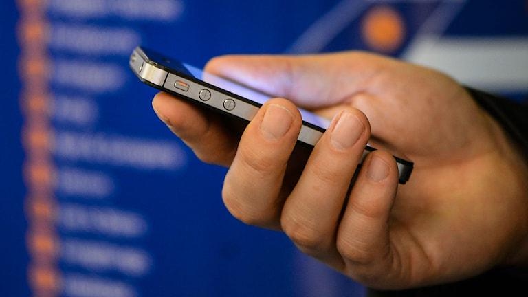Hand med mobiltelefon. Foto: Per Larsson / TT