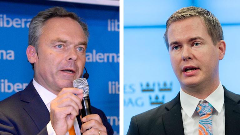 Jan Björklund (FP) och Gustav Fridolin (MP). Foto: TT