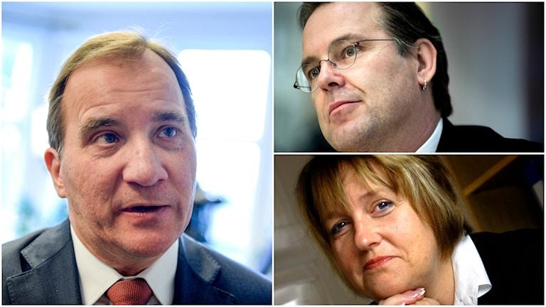 Statsminister Stefan Löfven (S), föredetta finansminister Anders Borg (M) och Kristdemokraternas Desiree Pethrus.