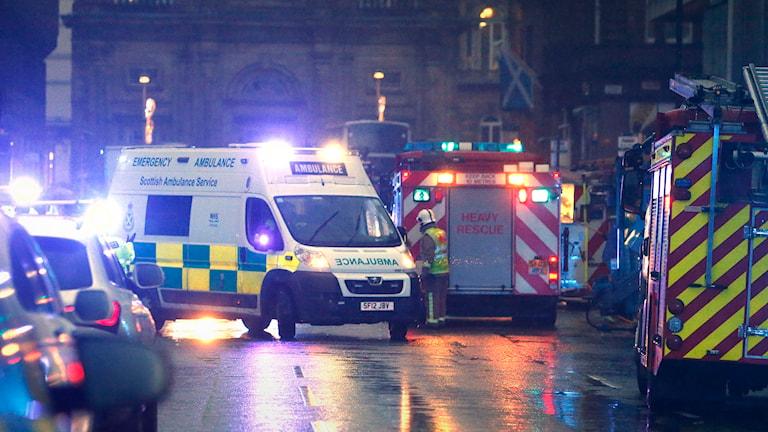Olycka med sopbil i centrala Glasgow. Foto: TT