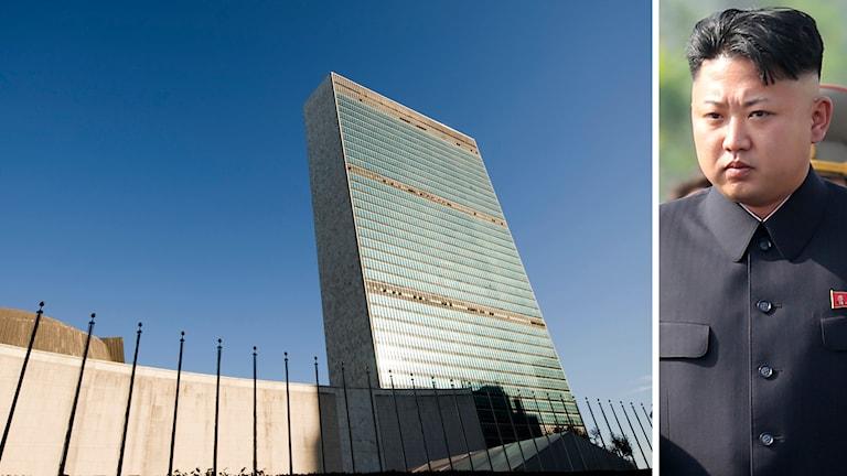 FN:s högkvarter i New York och Nordkoreas ledare Kim Jong Un. Foto: TTFN:s högkvarter i New York och Nordkoreas ledare Kim Jong Un. Foto: TT