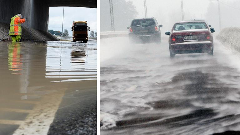 Trafik, översvämning, halka.
