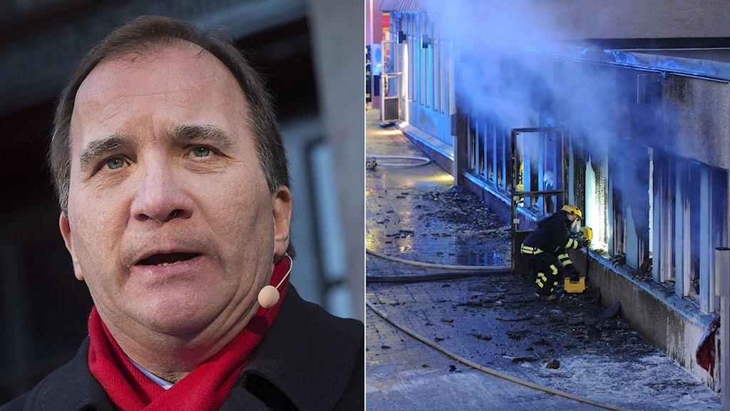 Statsminister Stefan Löfven. Brandrök från moskén i Eskilstuna. Foto: TT. Montage: Sveriges Radio.