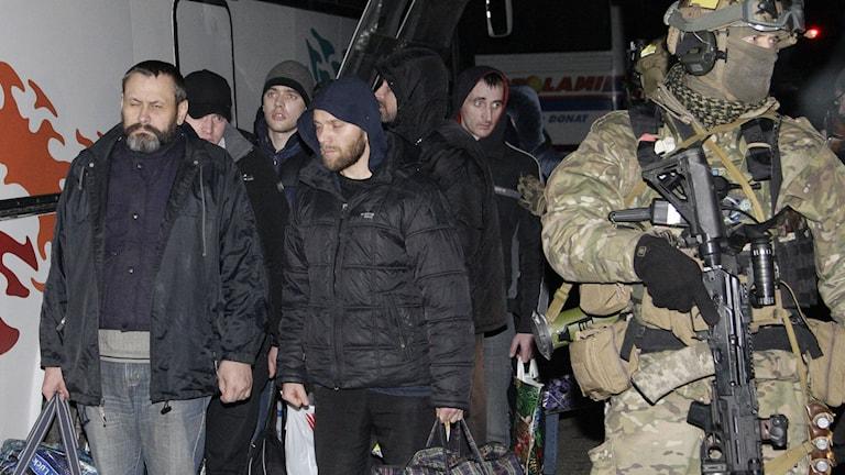 Proryska rebeller överlämnas av ukrainsk soldat. Foto: Alexander Ermochenko/TT.