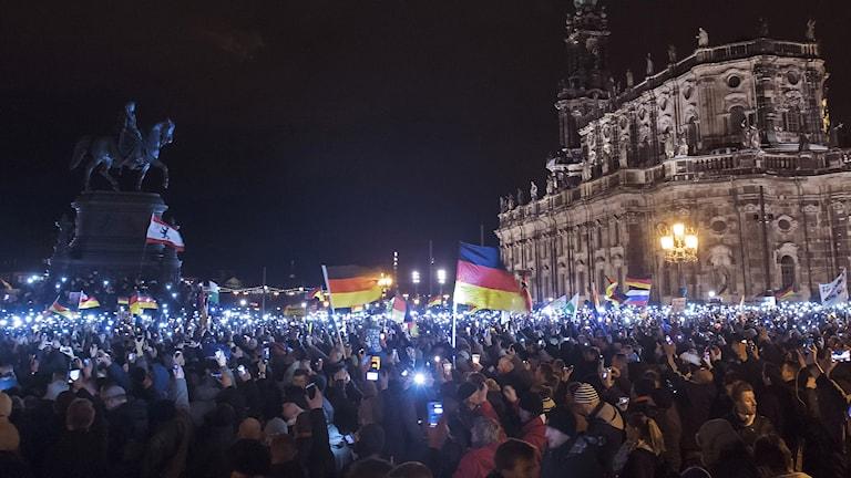 PEGIA-demonstrationer mot invandring. Dresden, Tyskland. Foto: AP/TT