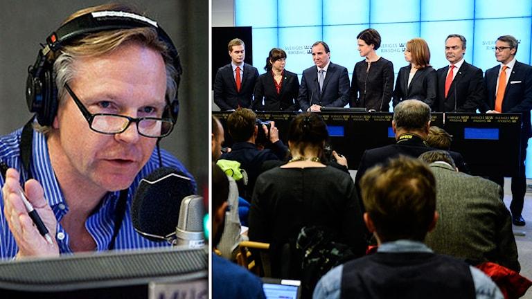 Alliansen och regeringen håller presskonferens om Decemberöverenskommelsen. Foto: TT. Till vänster: Sveriges Radios inrikespolitiske kommentator.