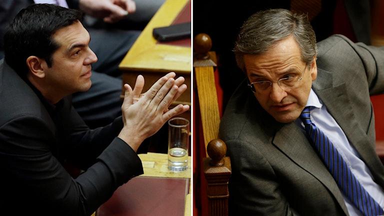Alexis Tsipras, ledare för vänsterradikala partiet Syriza, utmanar presidentkandidaten Stavros Dimas. Foto: TT
