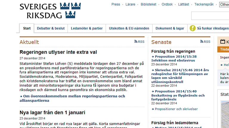 Skärmdump: Riksdagen.se.