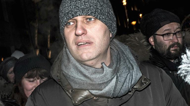 Aleksej Navalnyj under demonstrationerna där han greps. Foto: TT