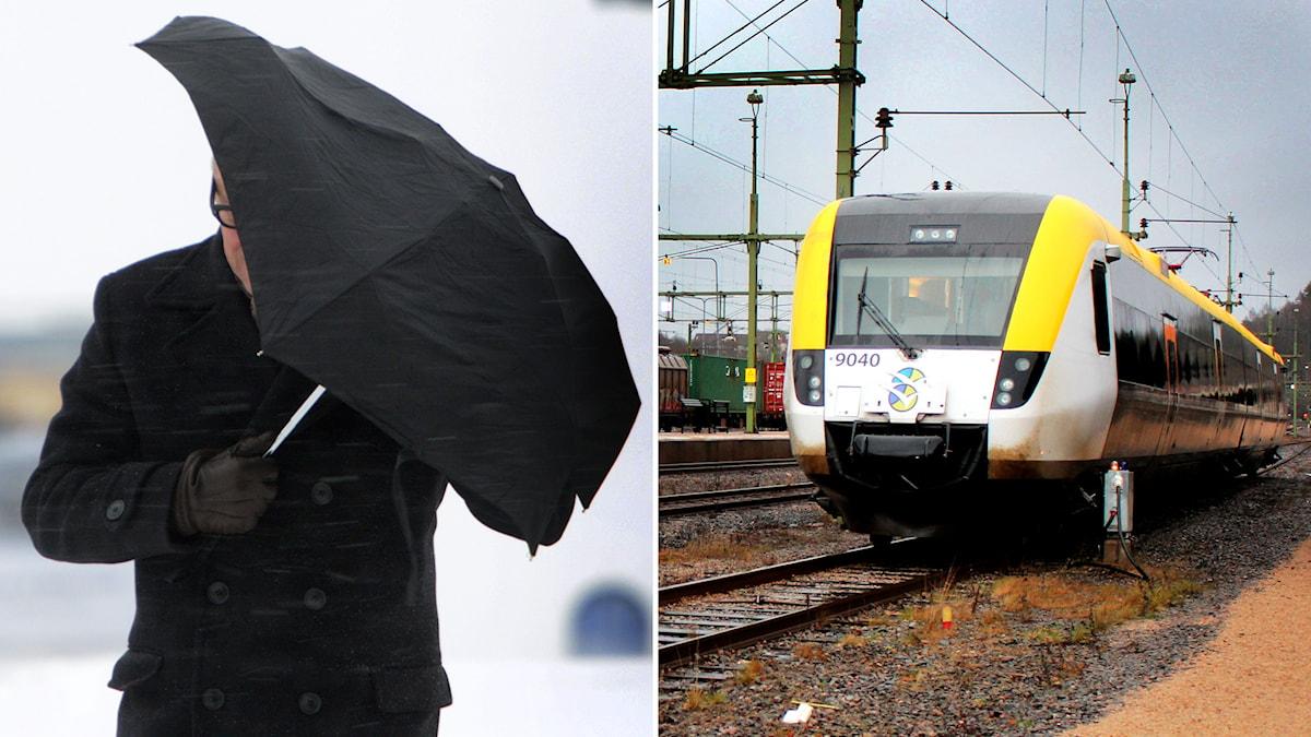 Tåg står stilla på grund av stormen Svea. Foto: TT