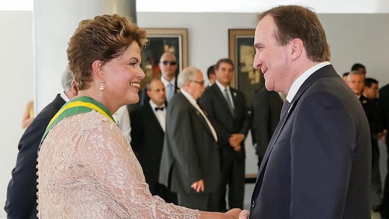 Stefan Löfven with Brazilian President Dilma Rousseff, Photo: Roberto Stuckert Filho/TT