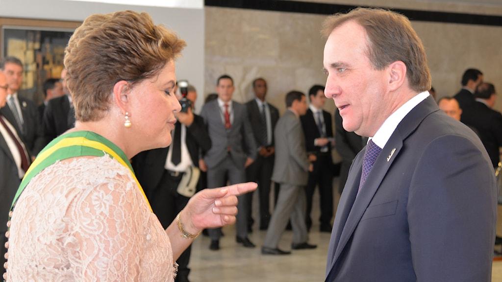 Brasiliens president Dilma Rousseff tar emot Stefan Löfven under den svenske statsministerns besök i Brasilien. Foto: TT