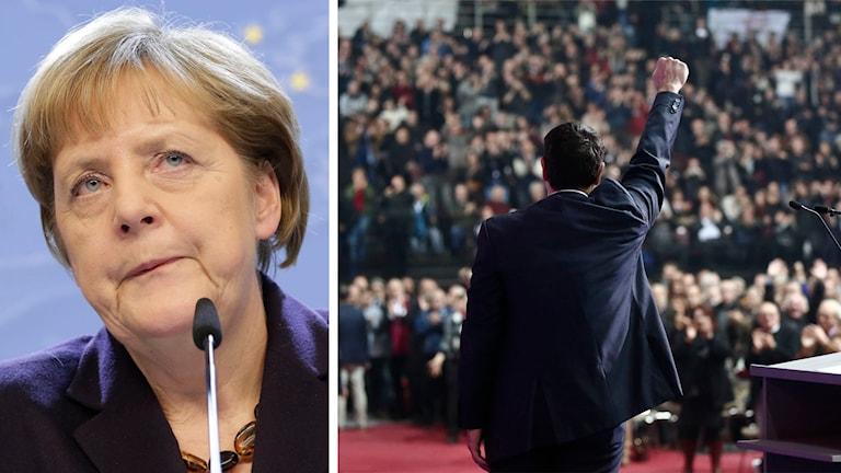 Delad bild: Angela Merkel samt Syriza ledare Alexis Tsipras. Foto: Yves Logghe/AP samt Petros Giannakouris/AP.