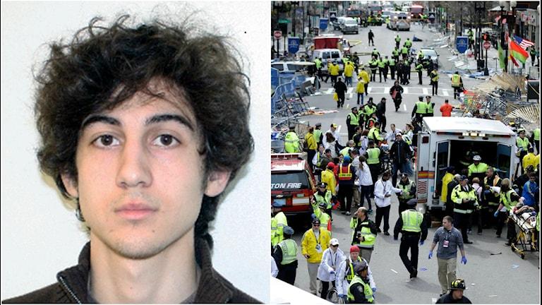 Dzhokhar Tsarnajev bredvid bombplatsen i Boston där mängder med människor skadades