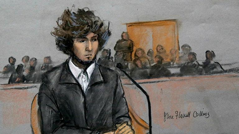 Teckning av Dzjochar Tsarnajev i domstolen.