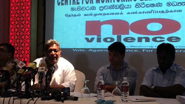 Trots den korta valkampanjen i Sri Lanka har det förekommit mycket våld. Paikiasothy Saravanamuttu är oroad över allt våld. Foto:Margita Boström