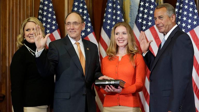 Republikanen John Boehner valdes till representanthusets talman för ännu en mandatperiod trots hårt motstånd från Tea-party-rörelsen i partiet. Foto: Pablo Martinez Monsivais/TT.