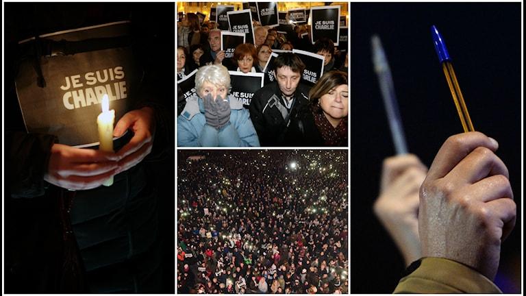 Tiotusentals människor gav sig ut på gator och torg för att manifestera mot terrorattacken på en fransk tidning.