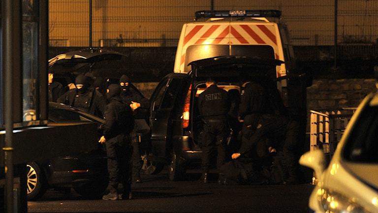 Franska polisens insatsstyrka i staden Charleville-Mezieres i nordöstra Frankrike. Foto: AFP