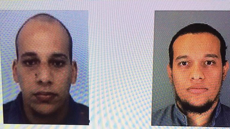 Fransk tv visar upp polisens bilder på de två män som genomförde attacken mot satritidningen Charlie Hebdo. Foto: Beatrice Janzon/Sveriges Radio.