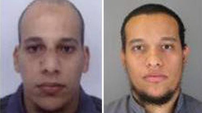 Polisens bilder på de två misstänkta männen, 32 och 34 år gamla, som publicerats i fransk media. Foto: Fransk polis.