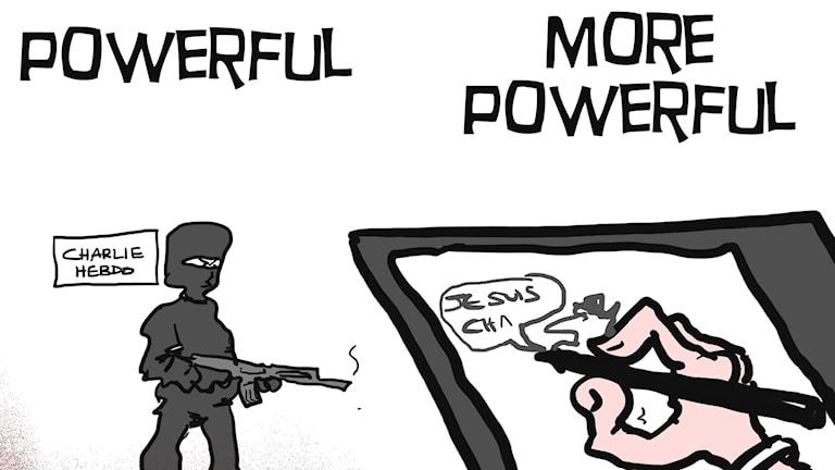 En satirteckning som tecknaren MacLeod gjort för att visa solidaritet med de som dödats i attacken mot Charlie Hebdo. Foto: TT/MacLeod Cartoons.