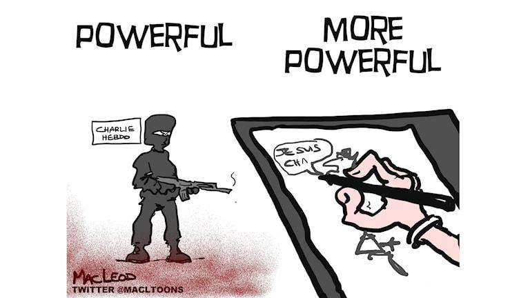 En teckning av MacLeod till stöd för de som dödades i attacken. Foto: TT
