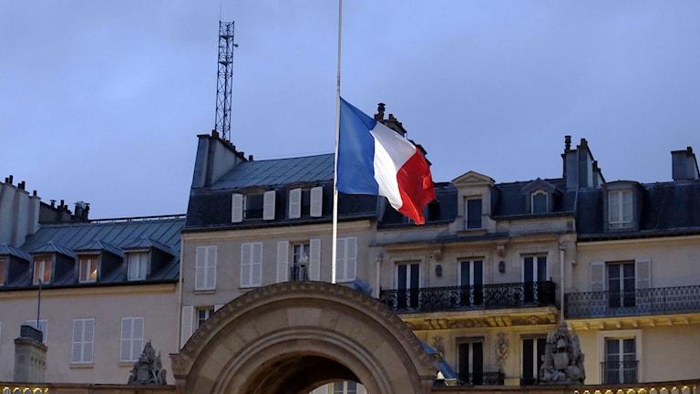 Den franska flaggan på halv stång. Frankrike har vaknat till en nationell sorgedag. Foto: TT.