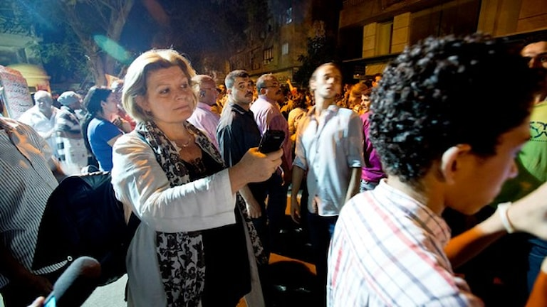 Cecilia Uddén rapporterar från Kairo 2013. Foto: Johan Ljungström/Sveriges Radio.