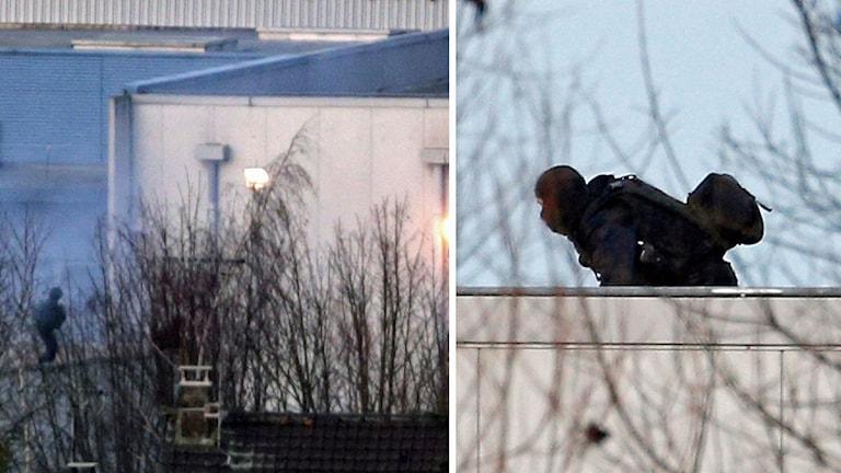 Skottlossning och explosioner hörs från byggnaden där de jagade bröderna gömmer sig. Foto: TT.