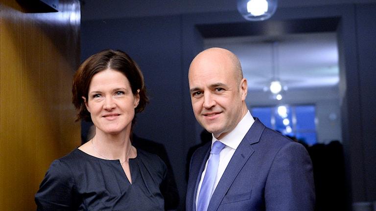 Moderaterna Anna Kinberg Batra och Fredrik Reinfeldt. Foto: Jessica Gow/TT.